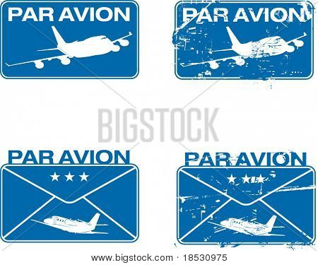 Par Avion or air mail rubber stamps. Grunge and clean vector illustration.