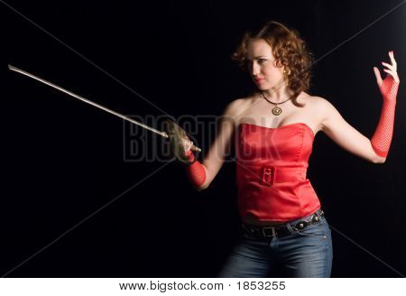 Pretty woman with rapier