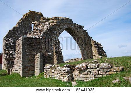 Ancient chapel ruin at the swedish island oland