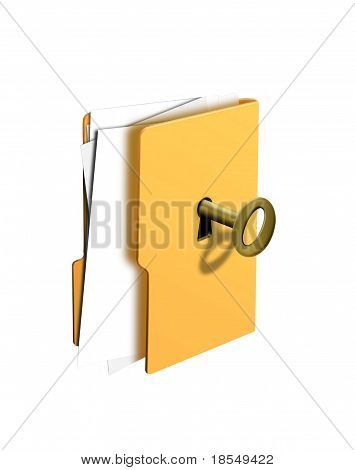 Open Folder With Key Isolated White