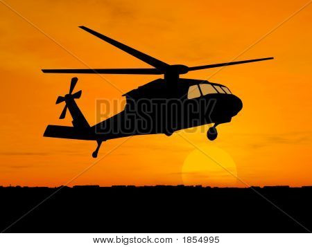 Silhouette Of Helicopter