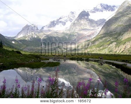 Italian Lake With Mountain Reflection