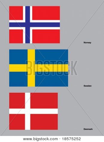 The flags of Norway, Sweden, and Denmark. Drawn in CMYK and placed on individual layers.