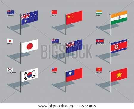 The flags of Australia, China, India, Japan, New Zealand, North Korea, South Korea, Taiwan, and Vietnam. Drawn in CMYK and placed on individual layers.