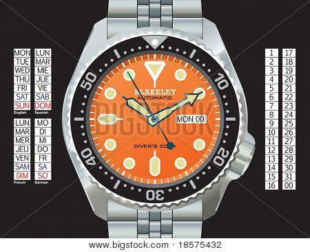 Stainless steel diver's watch in CMYK on separate layers. Time, day (in English, Spanish, French, and German), and date can all be changed. Strap continues under the watch for easy extension.