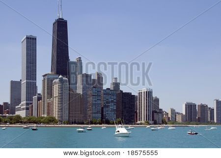 The Chicago skyline seen from Lake Michigan.