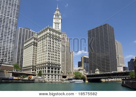 The Wrigley Building seen from the Chicago River.