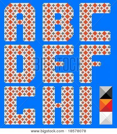 Color latin alphabet like cross pattern. Ukrainian design. Blue background. Part 1 of 3