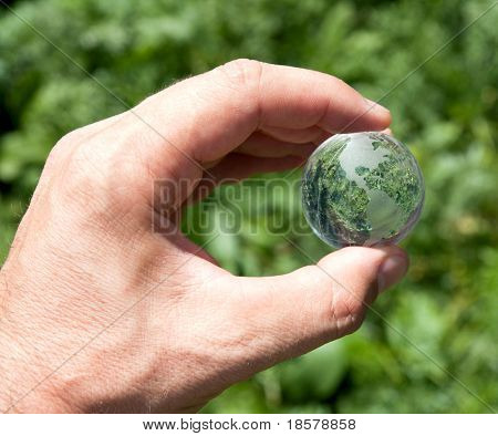 world in hand over green