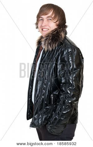 young man wearing winter clothes isolated on white