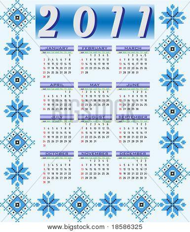 Calendário 2011 com padrão étnico de Ucrânia. semana começa no domingo