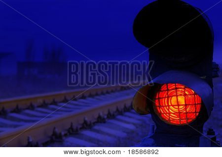 stop signal lamp in dusk