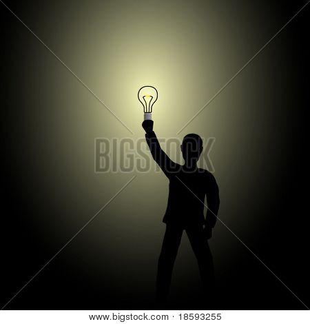Vector homem - idéia - segurando a lâmpada no escuro