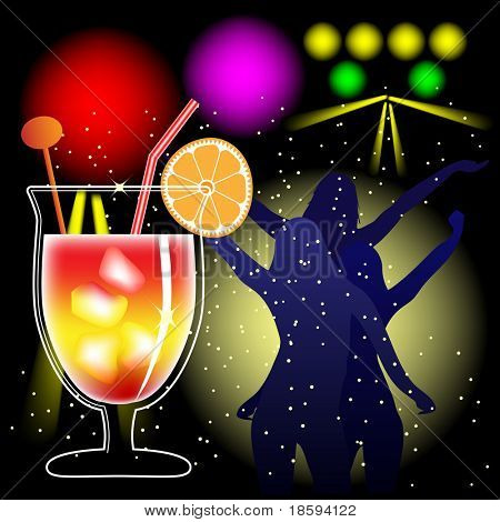 Cocktail and discotheque background - vector