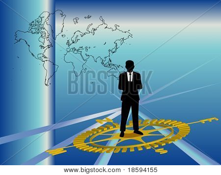 Businessman standing on the compass