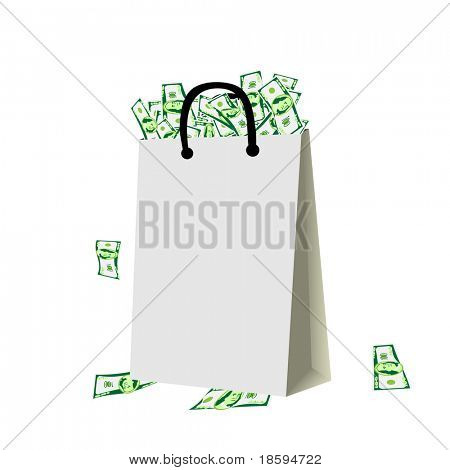 Blank shopping bag full of money