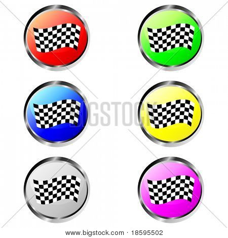 Colorful finish flag buttons