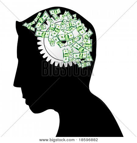 Male head silhouette thinking how to earn money