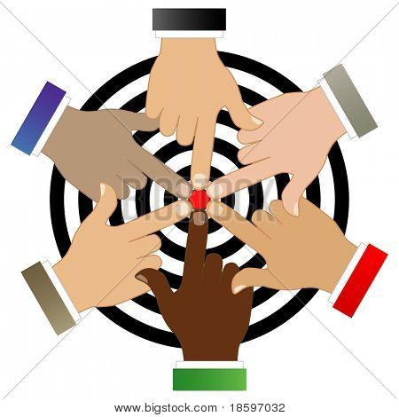 Six hands of different races around the target