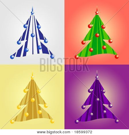 Set of four decorative Christmas tree
