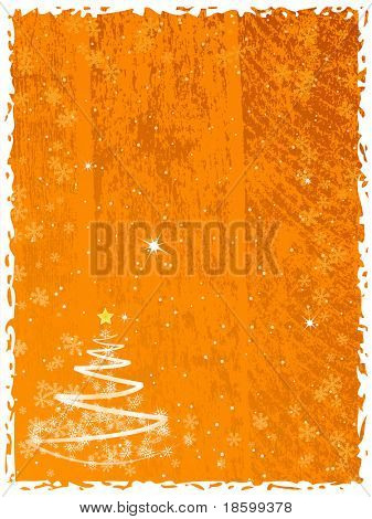 Abstract Christmas tree on the orange splotchy background