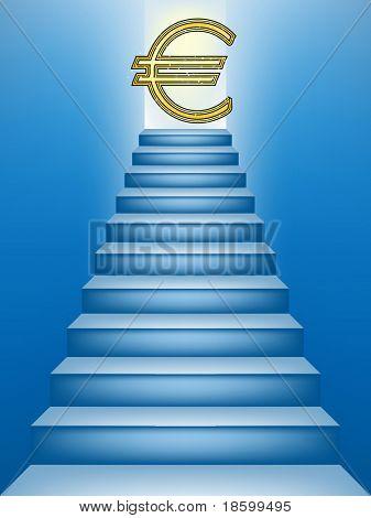 Símbolo do euro no topo da escada