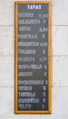 image of spanish money  - Spanish Tapas menu outside a restaurant in Spain - JPG