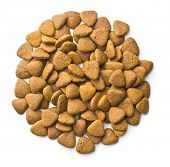 Dry kibble dog food isolated on white background. Top view. poster