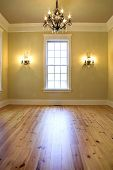 image of baseboard  - empty elegant diningroom or bedroom with chandelier - JPG
