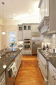 beautiful custom kitchen with granite and glass tile