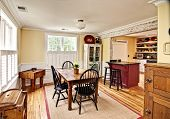 stock photo of wainscoting  - beautiful diningroom in eclectic style - JPG