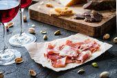 Spanish Ham Jamon Serrano Or Italian Prosciutto Crudo With Sliced Italian Hard Cheese Pecorino Tosca poster