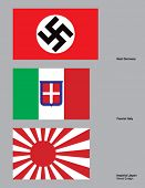 The 3 flags of the Axis powers drawn in CMYK and placed on individual layers.