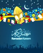 Ramadan greetings in Arabic script. An Islamic greeting card for holy month of Ramadan Kareem