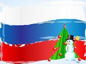 Постер, плакат: Снеговик и дерево на российский флаг