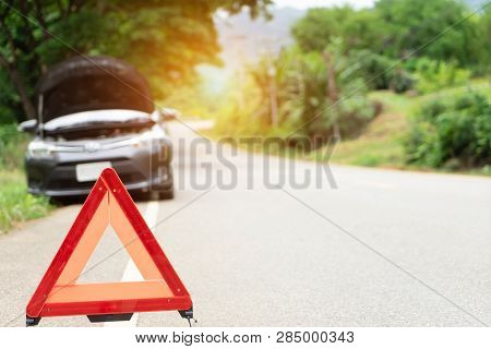 poster of Car Broken Down On The Road With Emergency Help Sign. Car Break Down Trouble On Road, Traffic Warnin