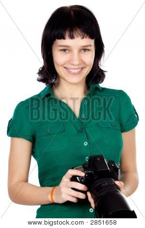 Woman Holding A Photo Camera
