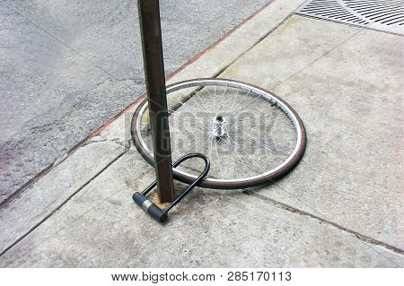 Bike Wheel With Padlock Theft