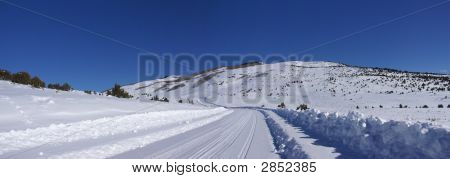 Tracks On Snow Covered Road