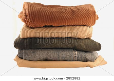 Folded Pants In A Stack