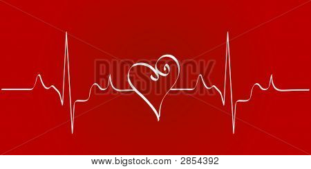 Heart With Heat Rhythm On Red