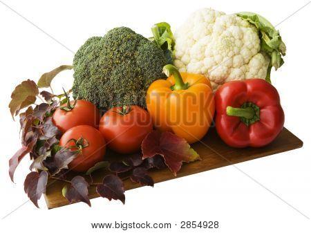 Mediterranean Vegetables On A Cutting Board