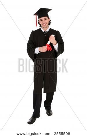 Male Graduate Smiling Holding A Degree
