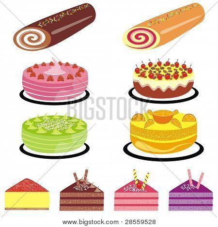 VECTOR - Cake Collection - Strawberry, Black Forest, Fruit Cake, Orange Tart, Cheese Cake, Berry Cake, Chocolate Brown Cake, Swissroll - Tasty Set