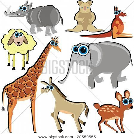 VECTOR - Family of Funny Cartoon Animals which Eat Grass - ( Horse, Deer, Giraffe, Elephant, Kangaroo, Koala, Lamb)