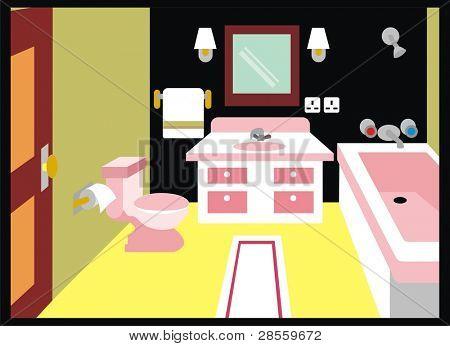 VECTOR - Toilet ( Bathroom ) - including Mirror, Lamp, Towel, Tissue Paper, Bathtub, shower, Carpet, Door, Lavatory & Lid - Interior Design