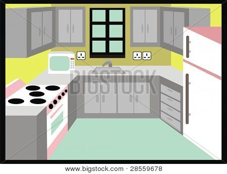 VECTOR - Kitchen - Simple Design including Microwave, Fridge & Stove - Cabinet, Drawer, Hydrant - Women Kingdom - Interior Design
