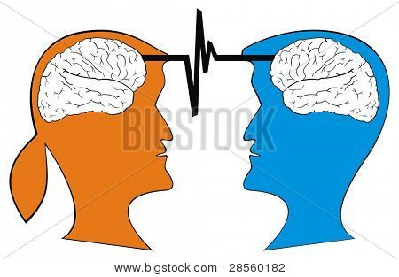 VECTOR - Two Human Head ( Male and Female ) Interacting