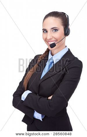 smiling businesswoman with headset, cheerful  customer support