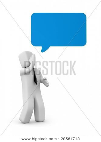 Businessman says. Person with speech bubble